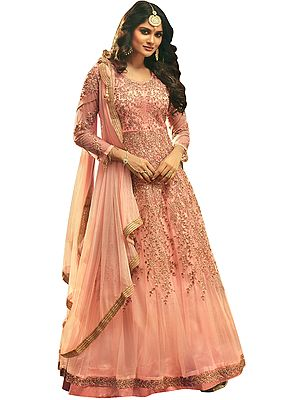 Seashell Pink Floor-Length Anarkali Salwaar Kameez Suit with Heavy Embroidery and Studded Beads