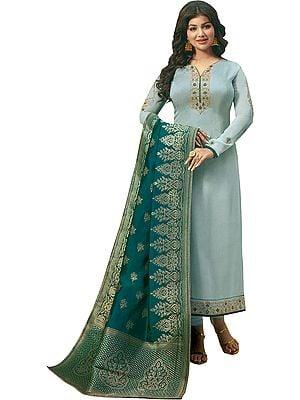 Mirage-Gray Ayesha Choodidaar Salwaar Kameez Suit with Green Brocaded Dupatta