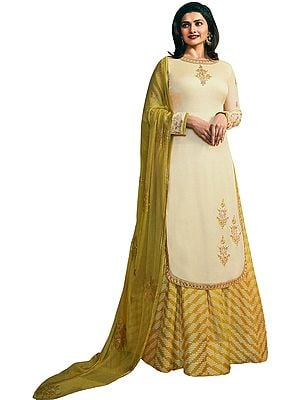 AfterGlow Prachi Kameez with Long Skirt Suit and Crystal Studded Chiffon Dupatta