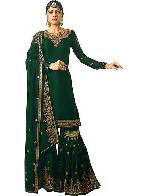 Trekking Green Drashti Sharara Salwaar Kameez Suit with Zari-Embroidery and Embellished Crystals