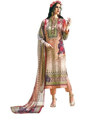 Dusty Coral Floral Printed Trouser Salwaar Kameez Suit with Embroidery All-Over and Chiffon Dupatta