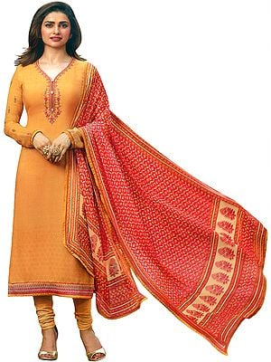 Marigold Prachi Choodidaar Salwaar Kameez Suit with Studded Crystals and Chiffon Dupatta
