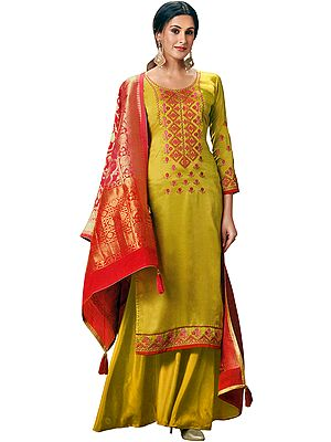 Empire-Yellow Flared Palazzo Salwaar Kameez Suit with Floral Embroidery and Zari-Broacded Dupatta
