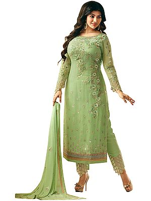 Arcadian-Green Ayesha Trouser Salwaar Kameez Suit with Zari-Embroidered Florals and Embellished Crystals