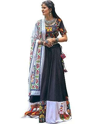 White and Black Lehenga Choli from Gujarat with Embroidered Elephants and  Printed Village Folks