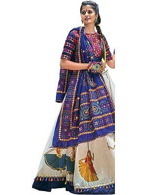 Design Blue and White Lehenga Choli from Gujarat with Embroidered Motifs and Dancing Village Girls