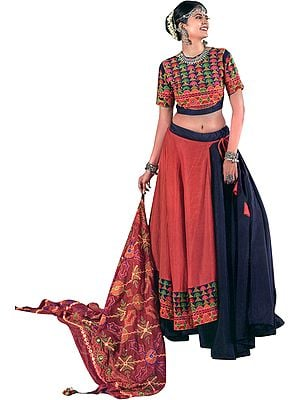 Insignia Blue and  Dubarry Lehenga Choli from Gujarat with Multicolor Embroidery and Mirrors