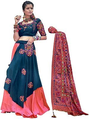 Georgia Peach and Blue Sapphire Lehenga Choli Ensemble from Gujarat with Embroidered Pocket in Multicolor Thread
