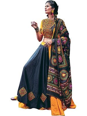 Black and Marigold Lehenga Choli from Kutch with Multicolor Embroidered Parrots and  Mirrors