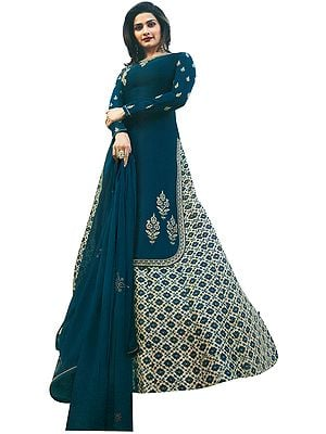 Ink-Blue Prachi Kameez with Long Floral Printed Skirt and Crystals Studded Chiffon Dupatta
