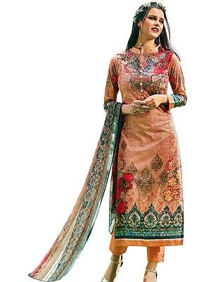 Amber-Light Floral Printed Trouser Salwaar Kameez Suit with Embroidery All-Over and Chiffon Dupatta