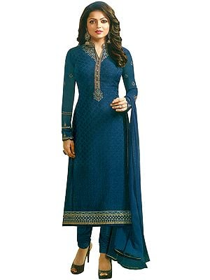 Design-Blue Drashti Choodidaar Salwar Kameez Suit with Ari-Embroidery and Chiffon Dupatta