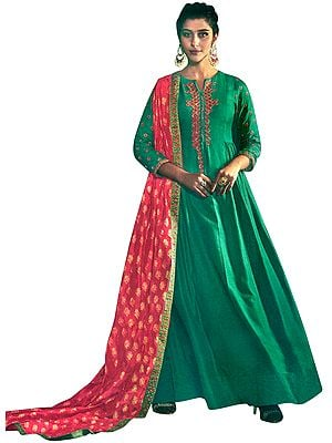 Greenlake Floor-Length A-Line Suit with Floral Ari Embroidery and Printed Red Dupatta