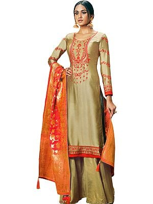 Champagne-Beige Flared-Palazzo Suit with Floral-Embroidery and Brocade Dupatta