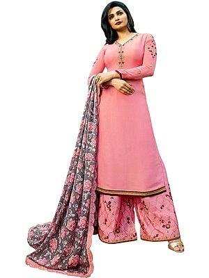 Sea-Pink Prachi Palazzo Salwaar Kameez Suit with Ari-Embroidery and Printed Dupatta