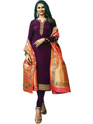 Red-Plum Prachi Long Choodidaar Salwar Kameez Suit with Zari-Embroidery and Crystals
