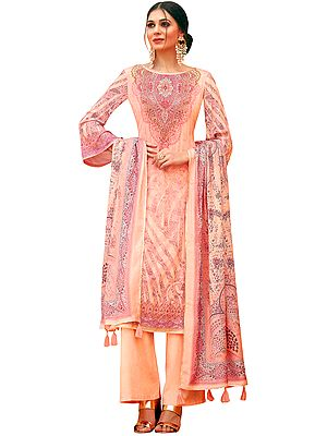 Peach-Nector Palazzo Salwar Kameez Lawn Suit with Mughal Print