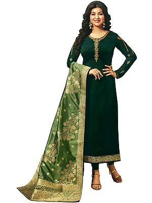Trekking-Green Long Choodidaar Salwar Kameez Suit with Zari-Embroidery and Green Banarasi Dupatta