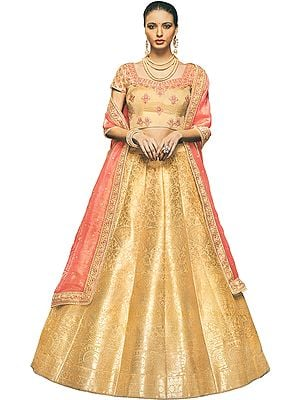 Buff-Yellow Brocaded Lehenga with Floral Embroidered Choli and Crystal Studded Dupatta