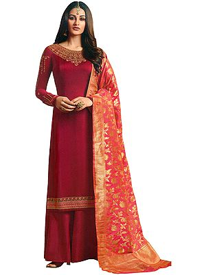 American-Beauty Flared-Palazzo Salwar Suit with Zari Embroidery and Brocaded Dupatta