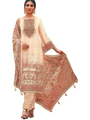 Frappe Palazzo Salwar Kameez Lawn Suit with Mughal Print