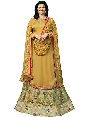 Harvest-Gold Prachi Kameez with Floral Printed Skirt and Embroidered Chiffon Dupatta