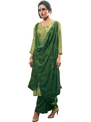 Green-Olive Palazzo Salwar Kameez Suit with Floral Embroidery and Embellished Dupatta
