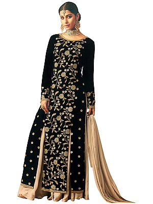 Caviar-Black Flared Palazzo Salwar with Zari Embroiderred Front Cut Velvet Kameez