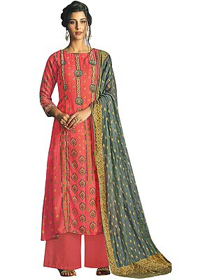 Dubarry-Pink  Long Palazzo Warm Salwar Suit with Printed Multicolor Motifs and Crystals
