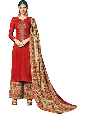 Red-Clay Palazzo Salwaar kameez Suit with Ari-Embroidery and Printed Dupatta