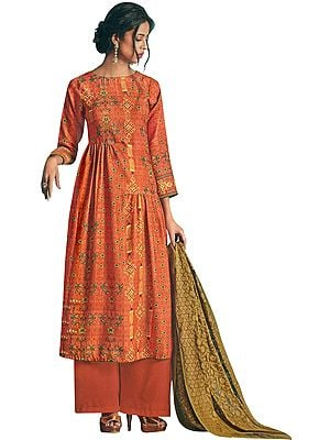 Brandied-Melon Long Palazzo Warm Salwar Suit with Printed Multicolor Motifs and Crystals