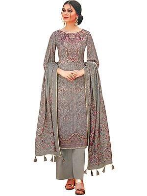 Shadow-Grey Palazzo Salwar Kameez Lawn Suit with Mughal Print