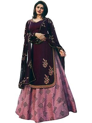 Italian-Plum Prachi Kameez with Long Printed Skirt and Floral Embroidered Chiffon Dupatta