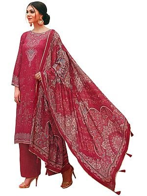 Holly-Berry Palazzo Salwar Kameez Lawn Suit with Mughal Print