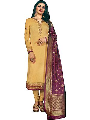 New-Wheat Prachi Long Choodidaar Salwar Kameez Suit with Zari-Embroidery and Crystals