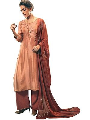 Toasted-Nut Palazzo Salwar Kameez Suit with Floral Embroidery and Embellished Dupatta