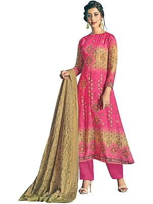 Fandango-Pink Long Palazzo Warm Salwar Suit with Printed Multicolor Motifs and Crystals