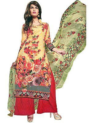Golden-Haze Palazzo Salwar-Kameez Suit with Printed Flowers and Chiffon Dupatta