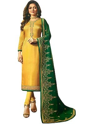 Sulphur-Yellow Drashti Choodidaar Salwar-Kameez Suit with Floral Zari-Embroidery and Green Chiffon Dupatta