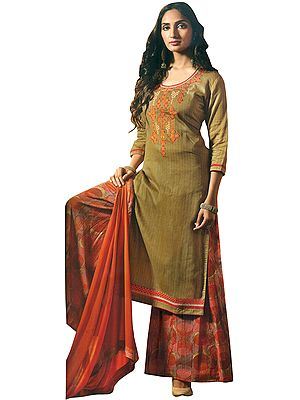 Antelope Flared-Palazzo Salwar-Kameez Suit with Ari-Embroidery on Neck and Chiffon Dupatta