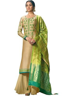 Beige Flared-Palazzo Suit with Floral-Embroidery and Green Brocaded Dupatta