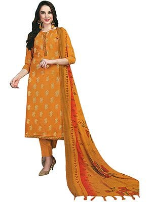 Buckskin Trouser Salwar Kameez Suit with Printed Floral Dupatta