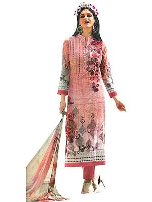 Pale-Blush Floral Printed Trouser Salwaar Kameez Suit with Embroidery All-Over