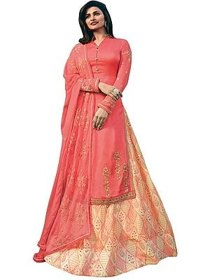Porcelain-Rose Prachi Kameez with Floral Printed Skirt and Embroidered Chiffon Dupatta