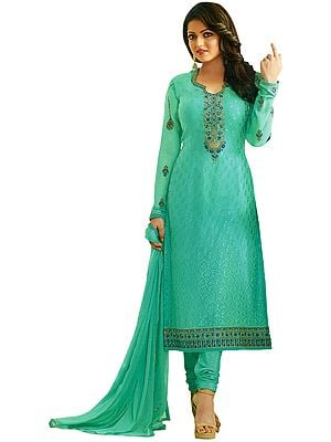 Gumdrop-Green Drashti Choodidaar Salwar Kameez Suit with Self-Weave