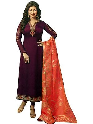 Mauve-Wine Ayesha Long Choodidaar Salwar Kameez Suit with Zari-Embroidery and Peach Banarasi Dupatta