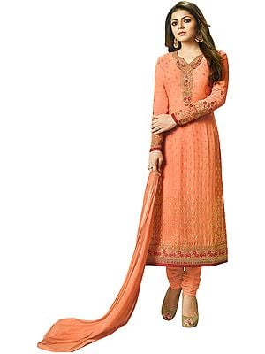 Canteloupe Drashti Choodidaar Salwar Kameez Suit with Zari-Embroidery and Self-Weave