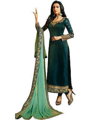 Atlantic-Deep Long Choodidaar Salwar Kameez Suit with Zari-Embroidery and Chiffon Dupatta