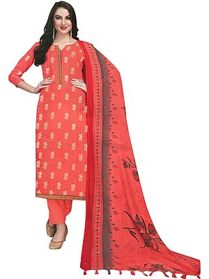 Dubarry-Pink Trouser Salwar Kameez Suit with Printed Floral Dupatta