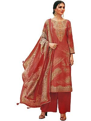Burnt-Ochre Palazzo Salwar Kameez Lawn Suit with Mughal Print